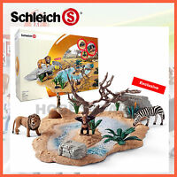 NEW SCHLEICH WILD LIFE WATERING HOLE SET with EXCLUSIVE ZEBRA 42258 HAND PAINTED