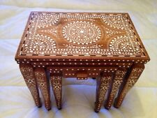 Indian Inlaid Hand Carved Elephant Legs Nest Of Three Tables