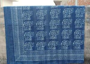 Indian Handmade Cotton Blue Elephant Print Kantha Quilt Throw Reversible Blanket