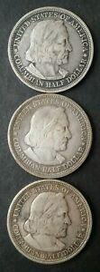 Three 1893 50c Columbian Expo Chicago Commemorative Silver Half Dollars