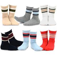 TeeHee Kids Boys Basic Stripe Cotton Crew Socks 6 Pair Pack (Sport Rib Stripe)