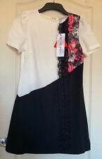 Paper Dolls Black White Pink Floral Lace Contrast Dress - BNWT - Size 10