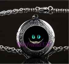 Cheshire cat Photo Glass Gun Black Chain Locket Pendant Necklace