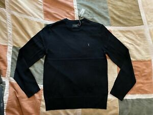 All Saints black 100% merino wool mode crewneck sweater L mens NEW allsaints