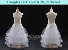 4 Layer Lace Kids Petticoat Underskirt Slip Flower Girls Wedding Crinoline White