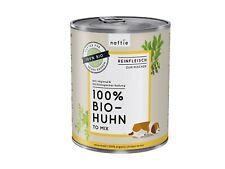 naftie Bio-Hundefutter 100% Bio Huhn, Nassfutter Reinfleisch für Hunde, 6x800g