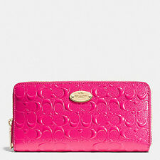 NWT COACH SIGNATURE DEBOSSED PATENT LEATHER ACCORDION ZIP WALLET PINK RUBY 53126