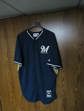 LYLE OVERBAY 2014 Milwaukee Brewers game used baseball jersey 48 MLB Majestic