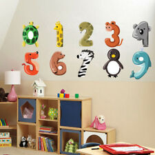 Cartoon Number Animals Dog Giraffe Zebra Wall Sticker Removable PVC Cute Numbers