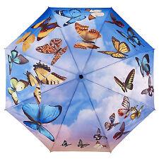 Galleria Auto Folding Umbrella - Swirling Butterflies