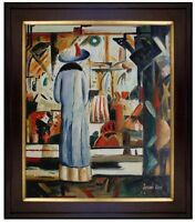 Framed, August Macke Large Bright Shop Repro, Hand Painted Oil Painting 20x24in