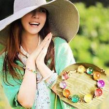 Schön Candy Colorful Frau Gold Chain Bracelet Charm Crystal Beads Bangle Cuff !
