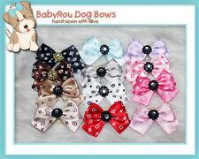 ~BabyRou~ 48 Dog Grooming Ribbon Pet Bows (Designer Glamour with Rhinestone)