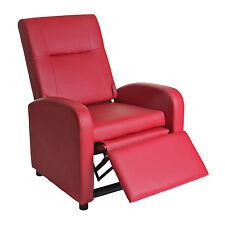 Fauteuil de télé Denver Basic, fauteuil de relaxation, similicuir ~ rouge