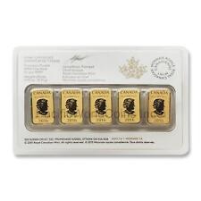 Canada 2016 Legal Tender $25 5pc 1/10 oz Gold Bar Royal Canadian Mint  SKU#5806