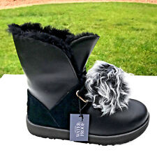 UGG Australia Isley Waterproof Boots Womens 8 Black Leather w/ Pom Poms NEW $260