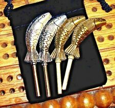 "4 ea. ""Leaping Fish"" Cribbage Pegs 2-Silver+2-Gold, Tibetan Silver, Velvet Bag a"