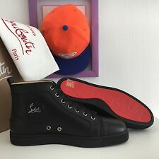 NEW CHRISTIAN LOUBOUTIN Louis Flat Black Leather Orlato Mens Sneakers Shoes EU40