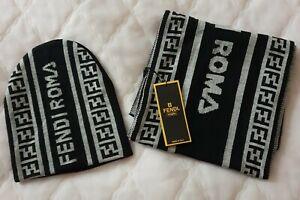Fendi Hat & Scarf Set -Black colour