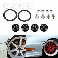 Black Quick Release JDM Bumper Trunk Fastener Screw Bolt Loop Ring Kit AU NEW