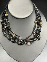 Vintage Multi 7 Strand Black Gold Copper Seed Bead Bohemian Long Necklace 14""