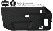 BLACK DIAMOND STITCH 2X DOOR CARD LEATHER COVER FOR PORSCHE 924 944 1975-1991