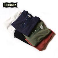 Bronson Vintage Ribbed Cuffs Henley Tee Shirts Summer Men's Basic T-Shirts
