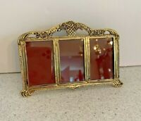 Vintage Inspired Brass Standing Photograph Frame Picture Holder Holds 3 Photos