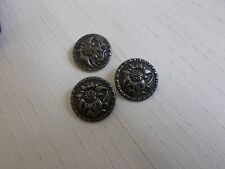 3 Vintage VW Floral Silver Tone Buttons Gesch Made Germany Car Makers Logo