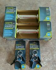 """Ignite By SPRI Set Of 2 Dumbbell Handles Standard 1"""" Pair With 4 Spring Collars"""