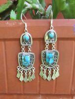 Ohrring orientalischer Stil Türkis Kupfertürkis blau Sterling Silber 925