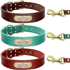 Custom Personalized Dog Collar and Leash Set Engraved ID Nameplate