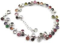 bracciale multi charms zirconi multi color in argento 925 rodiato  made in ital