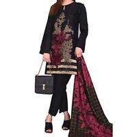 Ladies Indian Pakistani EMBROIDERY Readymade BLACK Salwar Kameez LILAN 3PC Suit