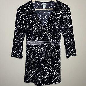 Motherhood Maternity Medium Blouse Top Black White Polka Dots Tie Waist V-Neck
