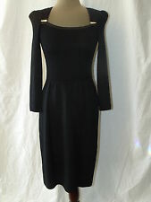 VTG ST JOHN BY MARIE GRAY BLACK DRESS WITH RHINESTONE BROOCHES