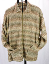 Elisabeth Liz Claiborne Earth Tone Nubby Stripe Zipper Cardigan Sweater Plus 2X