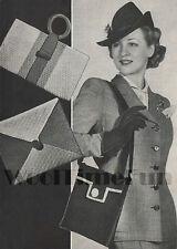 Vintage Knitting Pattern 1940s Wartime Handbags. 3 Designs.
