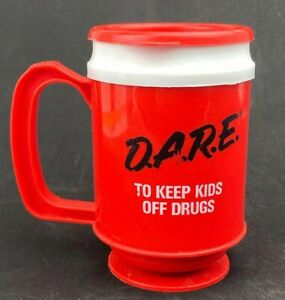 Vintage Coffee Travel Mug Dare Cup D.A.R.E. To Keep Kids Off Drugs
