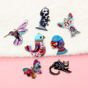 5pcs Colorful Alloy Bird Dog Animals Enamel Charms Pendant DIY Necklace Bracelet