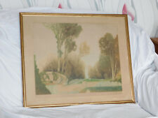 Antique Etching/Aquatint of a Formal Garden by Gaston de Latenay (1859-1943)