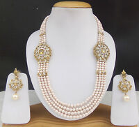 Indian Golden Pearl Cz Fashion Necklace Earrings Ethnic Wedding Jewelry Long Set