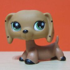 Littlest Pet Shop Animal LPS Toys Green Snowflake Eye Brown Dachshund Dog Rare B