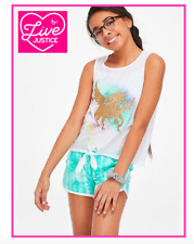 *NEW* JUSTICE GIRLS SIZE 8 12 SPARKLY UNICORN TIE FRONT TANK TOP N SHORTS OUTFIT