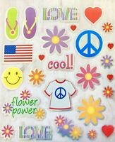 Foil Groovy Peace Flower Power Stickers Party Favors Teacher Supply Love Hearts