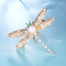 18K YELLOW GOLD GP MADE WITH SWAROVSKI CLEAR GREEN CRYSTAL DRAGONFLY PIN BROOCH