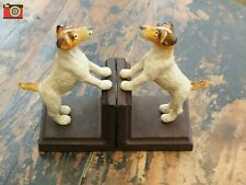 More details for cast iron terrier bookends. vintage style. parson jack russell, fox terrier.