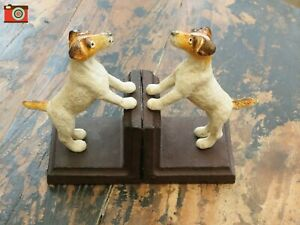 CAST IRON TERRIER BOOKENDS. VINTAGE STYLE. Parson Jack Russell, Fox Terrier.