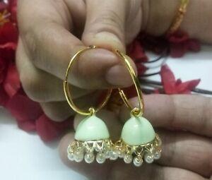 Indian Pearls Earrings Clip On Lemon Meenakari Gold Plated Jhumki Party Wear Set