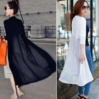 Women Fashion Cardigan Long Dress Beach Cover Up Long Sleeve Outwear Coat Jacket